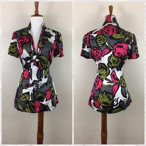 Trina Turk Silk Floral Button Down Blouse